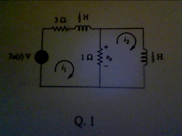 For the circuit shown find i1(t), i2(t) and Vo(t)