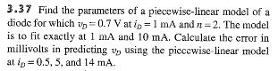 Find the parameters of a piecewise-linear model of