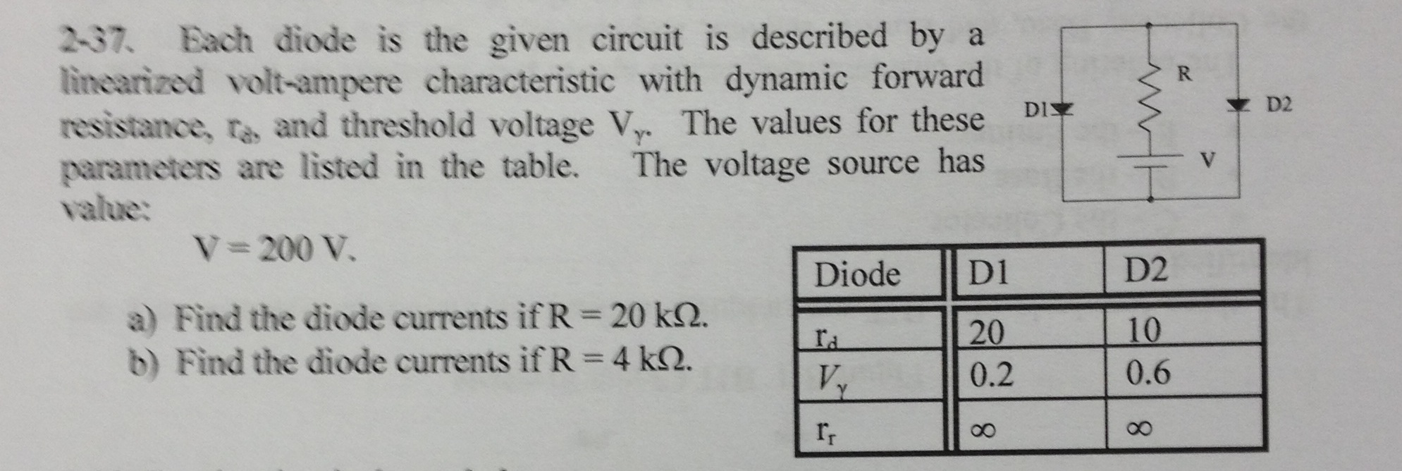Each diode is the given circuit is described by a