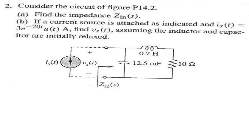 Consider the circuit of figure P14.2. Find the im