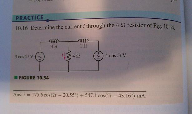 Determine the current i through the 4 ohm resistor