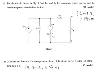 For the circuit shown in Fig. 3 find the load Rl f