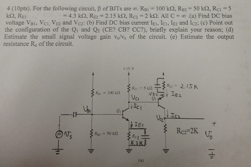 For the following circuit, beta of BJTs are infini