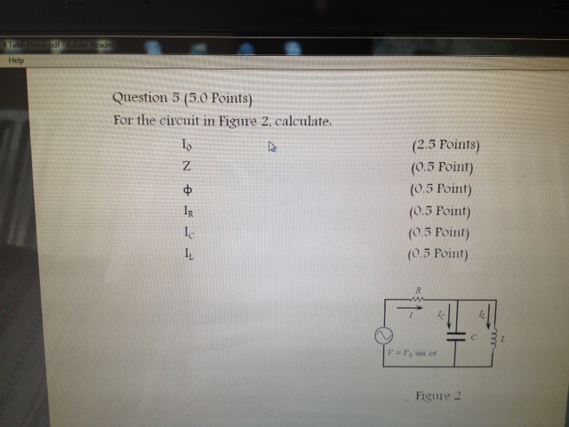 For the circuit in Figure 2. calculate, I0 Z ph