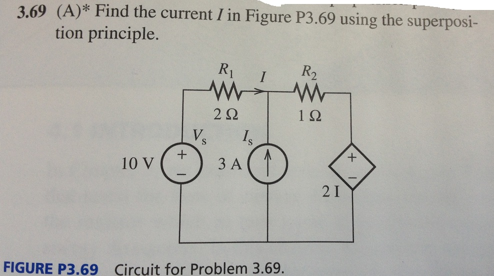 Find the current I in Figure P3.69 using the super