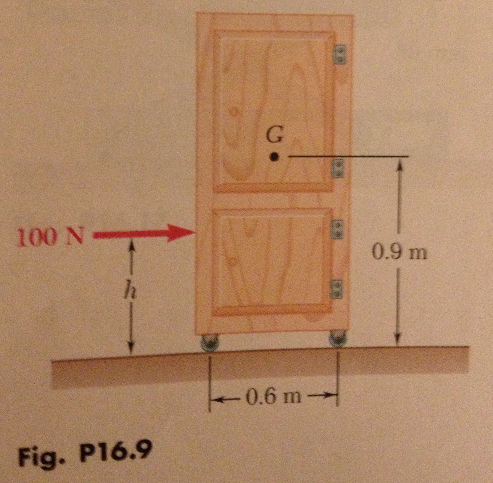 16.9: A 20-kg Cabinet Is Mounted On Casters That A... | Chegg.com