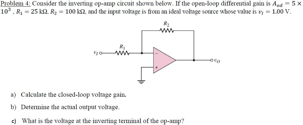 Consider the inverting op-amp circuit shown below.