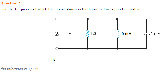 Find the frequency at which the circuit shown in t