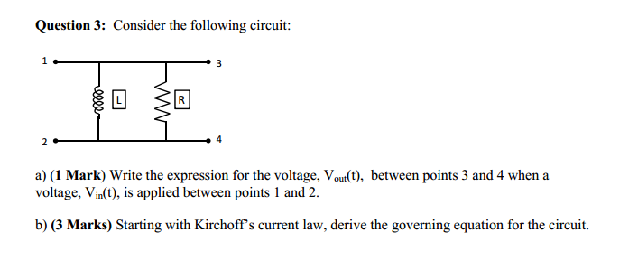 Consider the following circuit: Write the express
