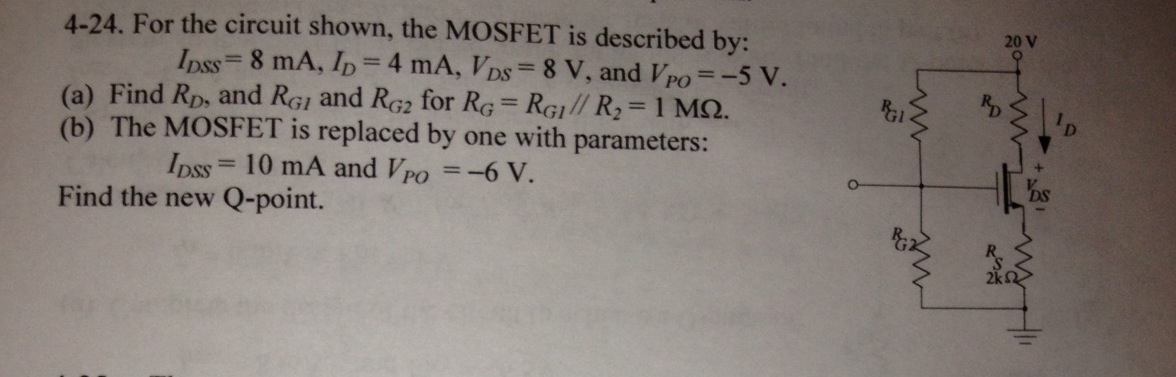 For the circuit shown, the MOSFET is described by: