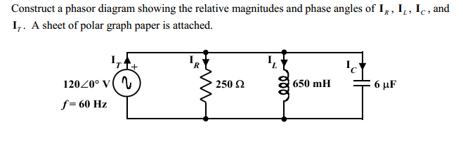 Construct a phasor diagram showing the relative ma