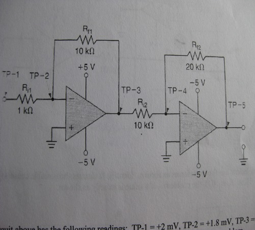 The circuit below has the following readings: TP-1
