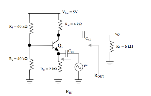 use hybrid pi model For the circuit below, A) calc