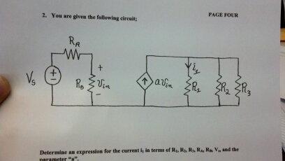 You are given the following circuit; Determine an