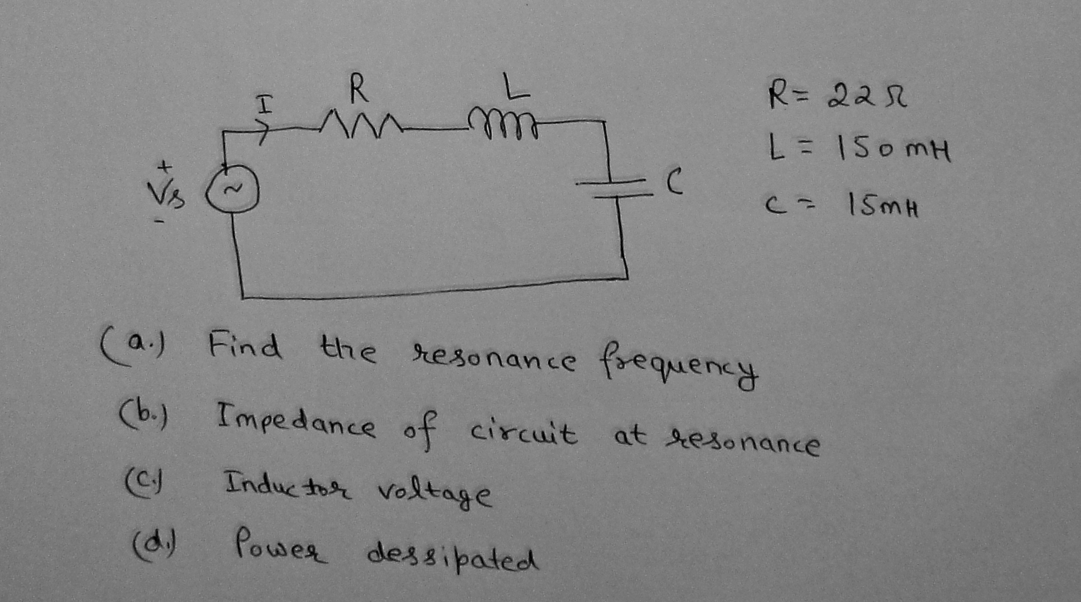 Find the resonance frequency Impedance of circuit