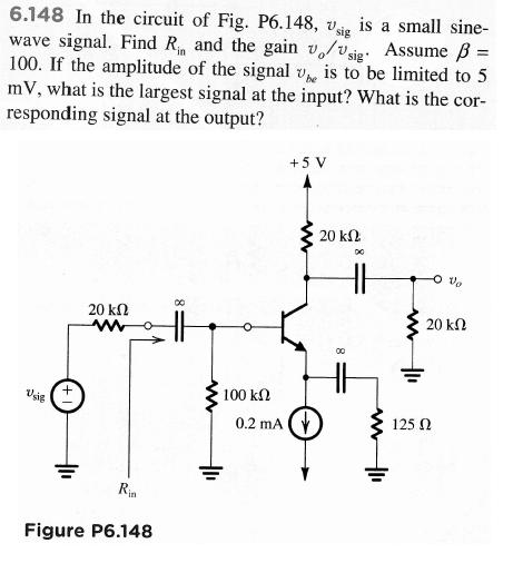 In the circuit of Fig. P6.148, vsig is a small sin