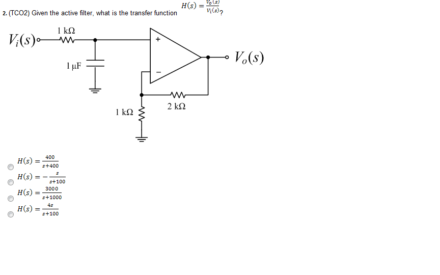 (TCO2) Given the active filter, what is the transf