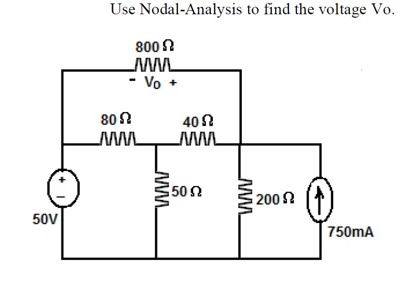 Use Nodal-Analysis to find the voltage Vo.
