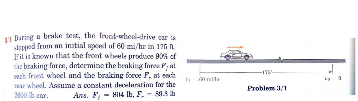 j i During a brake test, the front-wheel-drive car