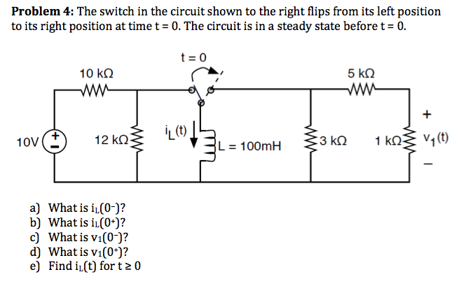 The switch in the circuit shown to the right flips