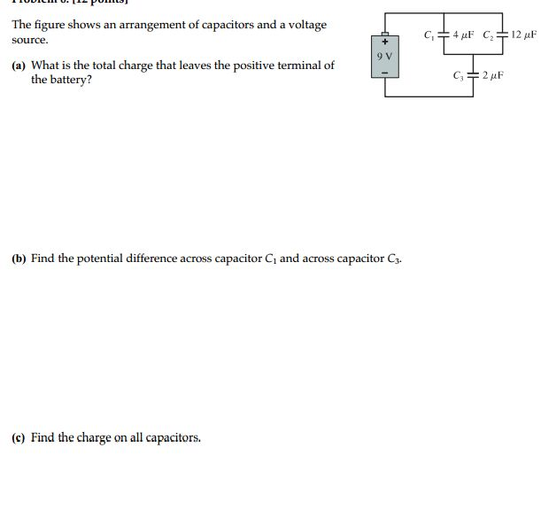 The figure shows an arrangement of capacitors and