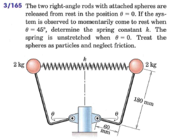 Right Angle Spring : Solved the two right angle rods with attached spheres are