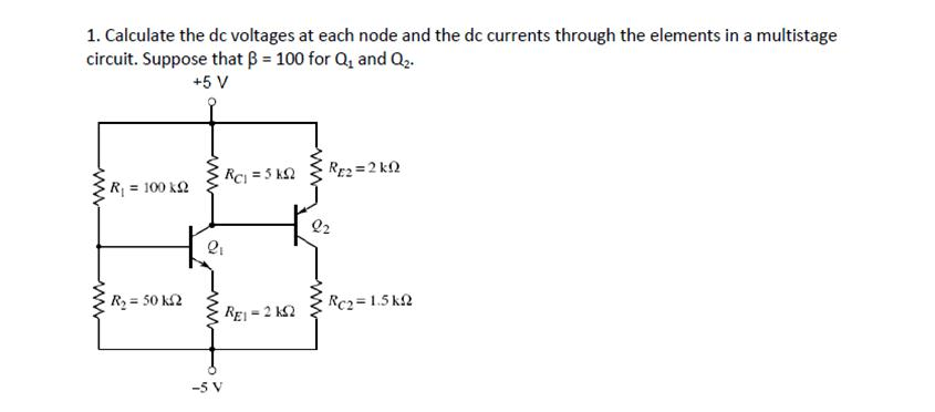 Calculate the dc voltages at each node and the dc