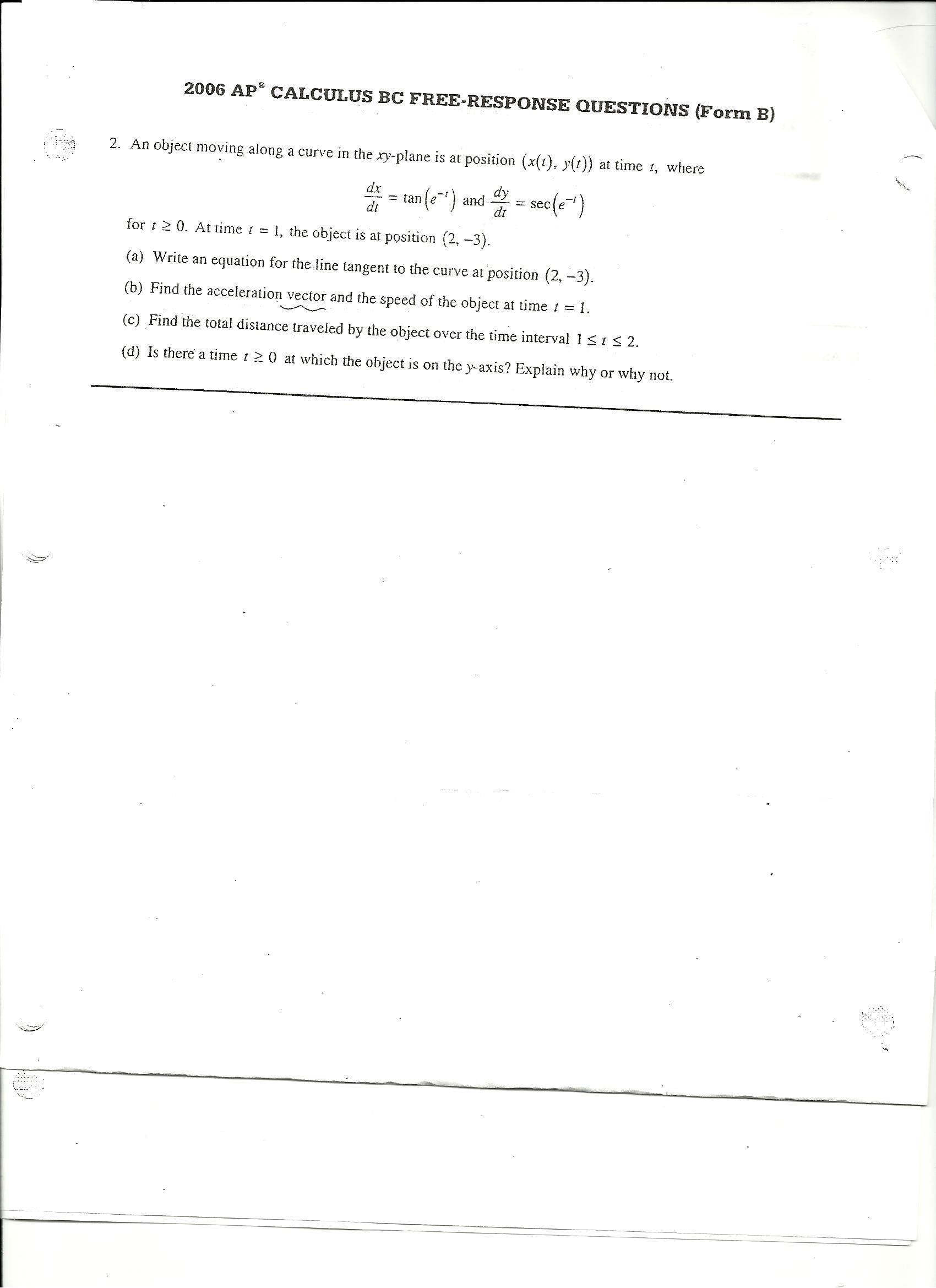 2006 AP CALCULUS BE FREE-RESPONSE QUESTIONS (Form ... | Chegg.com