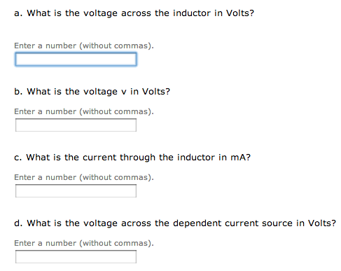 What is the voltage across the inductor in Volts?