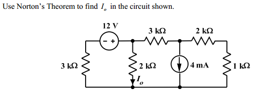 Use Nortan's Theorem to find Io in the circuit sho