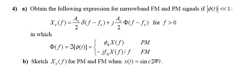 Obtain the following expression for narrowband FM
