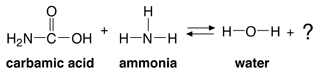 Here is the reaction of carbamic acid and ammonia