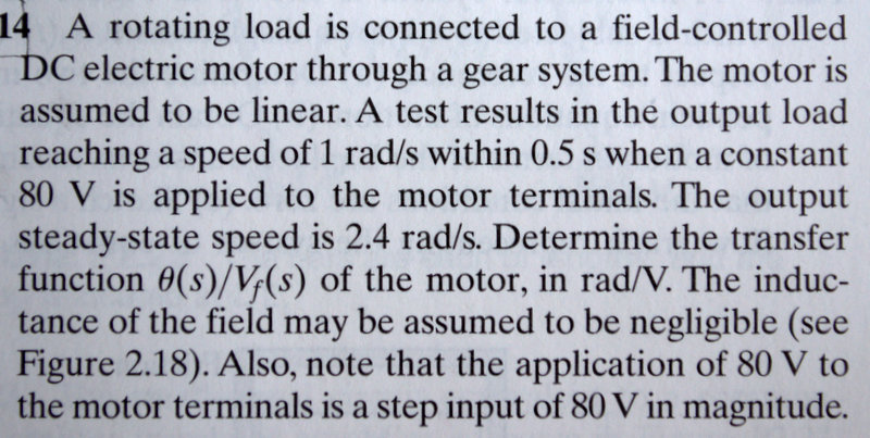 A rotating load is connected to a field-controlled