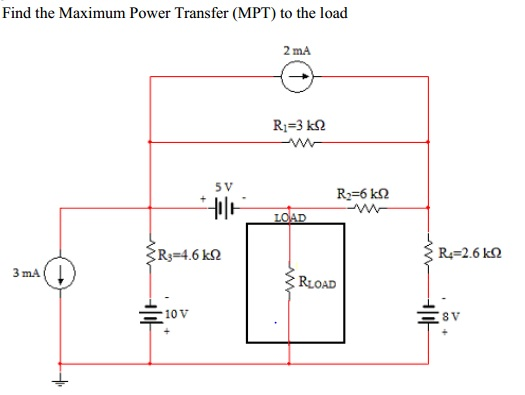 Find the Maximum Power Transfer (MPT) to the load
