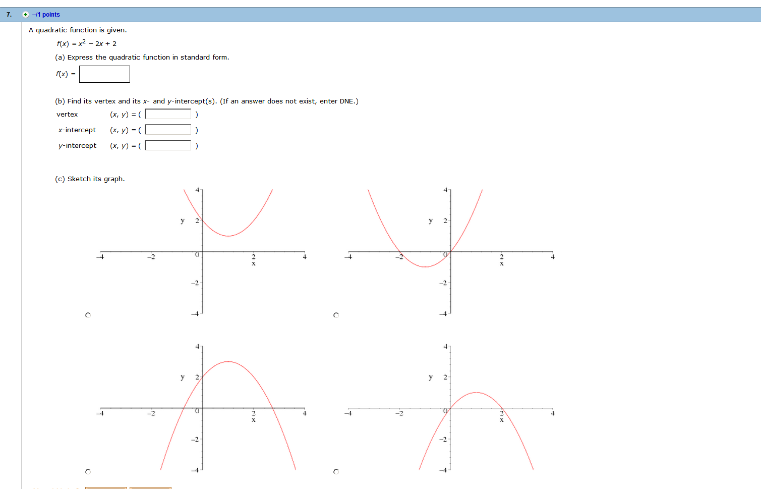Solved a quadratic function is given fx x2 2x 2 ex a quadratic function is given fx x2 2x 2 falaconquin