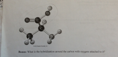 What is the hybridization around the carbon with o