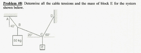 Determine all the cable tensions and the mass of b