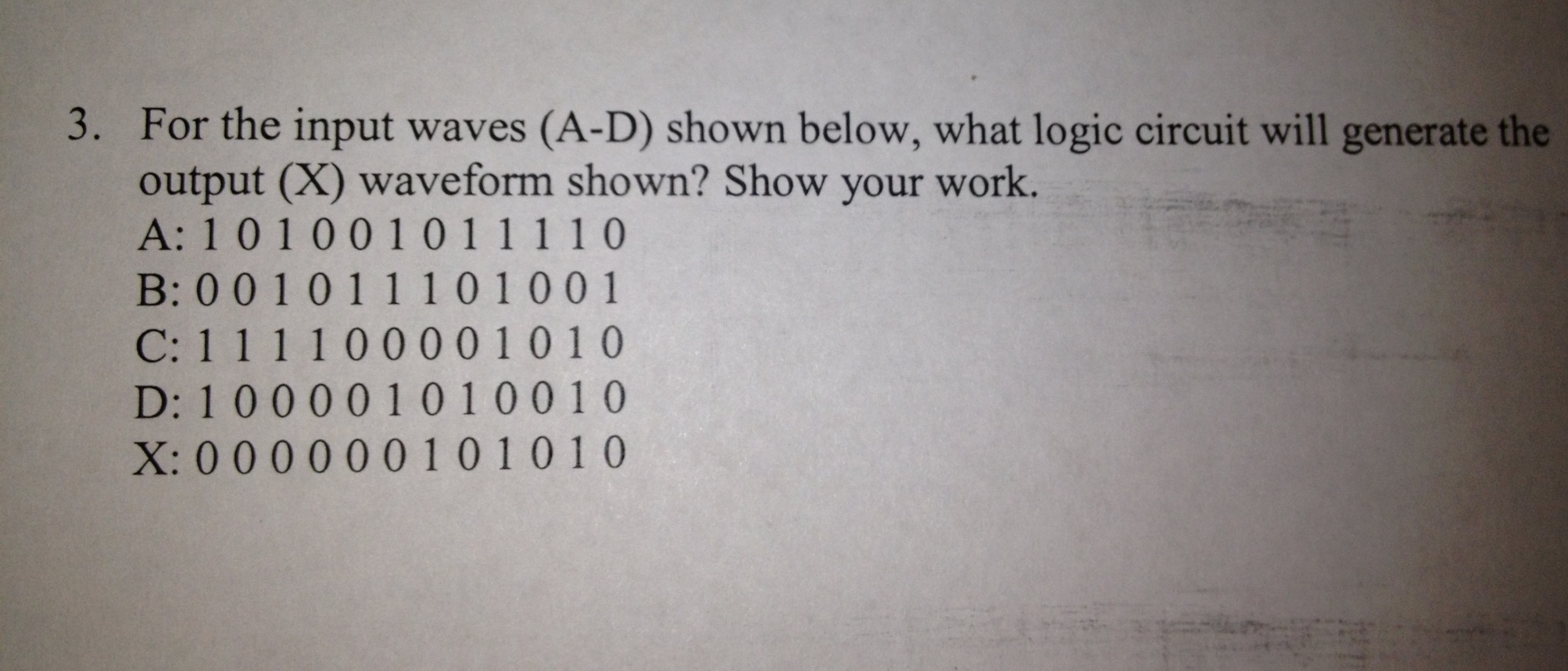 For the input waves (A-D) shown below, what logic