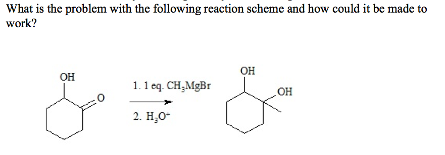 What is the problem with the following reaction sc
