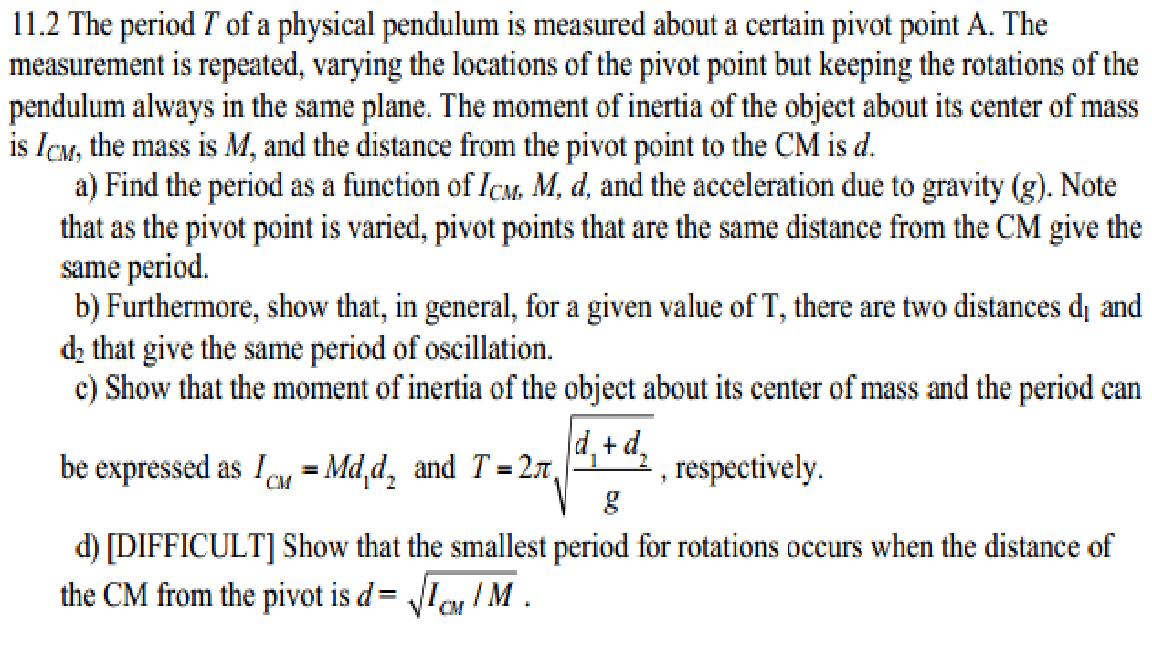 pendulum measurement Possible to indirectly measure gravity very accurately using a pendulum the time it takes a pendulum to complete one back-and-forth swing, called the pendulum's pe-.