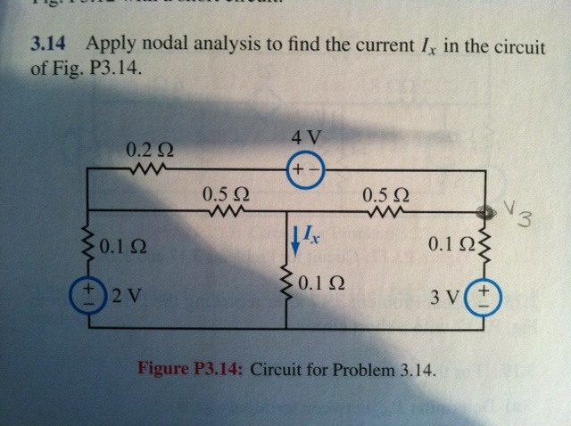 Apply nodal analysis to find the current Ix in the