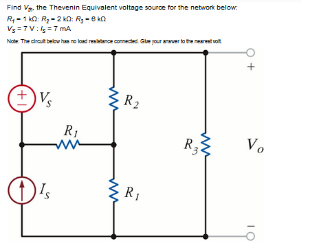 Find Vth. the Thevenin Equivalent voltage source f