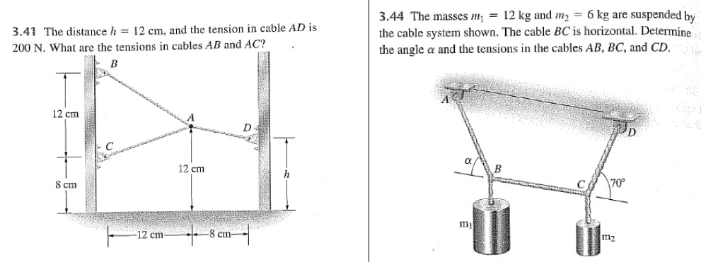 The distance h = 12 cm, and the tension in cable A