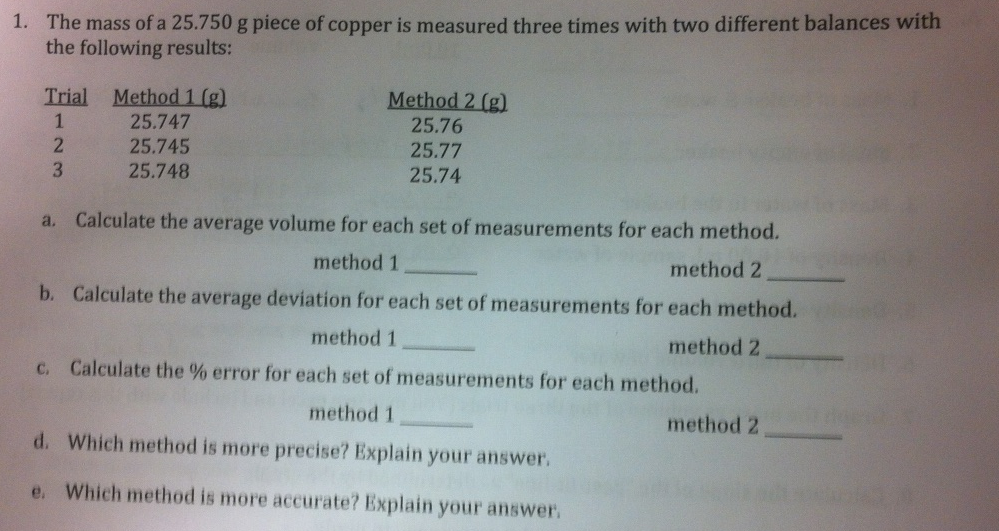 The mass of a 25.750 g piece of copper is measured