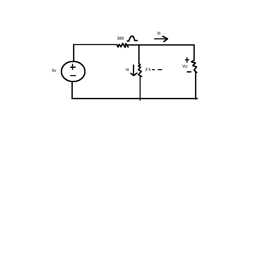 For the circuit shown, find the currents ia, ib, a