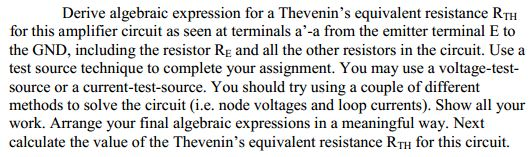 Derive algebraic expression for a Thevenin's equiv