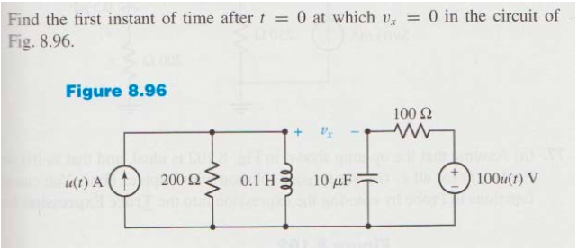 Find the first instant of time after t=0 at which