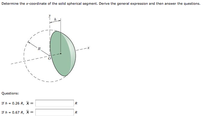 Determine the x-coordinate of the solid spherical