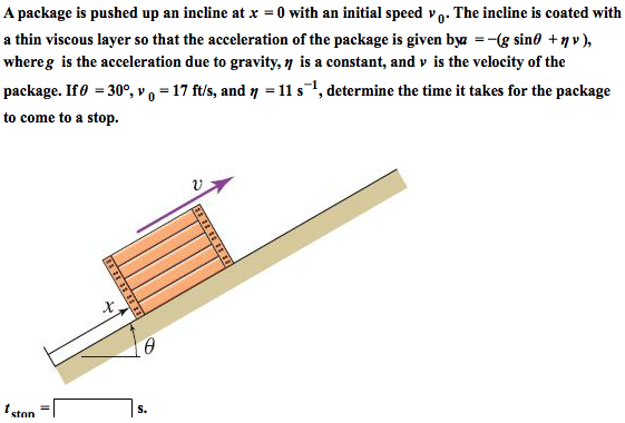 A package is pushed up an incline at x = 0 with an