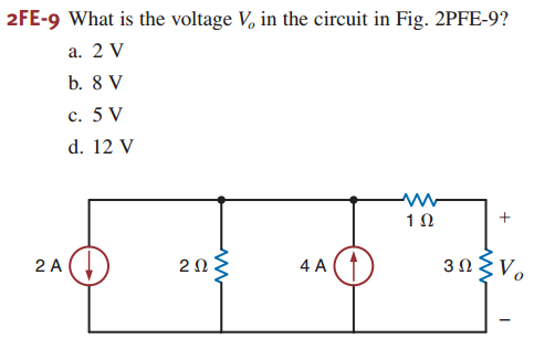 What is the voltage V0 in the circuit in Fig. 2PFE